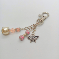 Silver Hand Bag Charm with Butterfly Charm and Pearl and Crystal Bead Charms