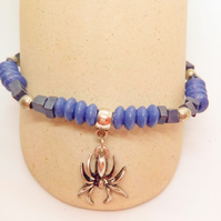 Halloween Stretch Bracelet with Blue and Silver Beads and a Spider Charm