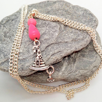 Witches Hat with Pumpkin and Pink Howlite Bead Pendant Halloween Necklace