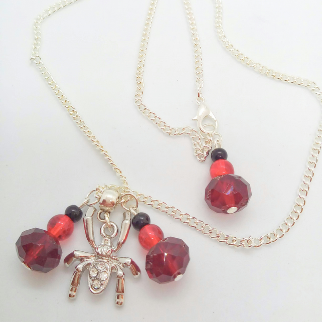 Rhinestone Spider Halloween Necklace With Red and Black Beaded Charms