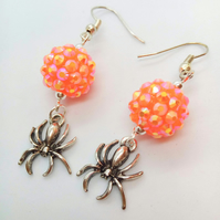 Orange Shamballa Style Bead and Silver Plated Spider Charm Earrings for Pierced