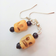 Halloween Bone Skull And Black Bead Earrings for Pierced Ears, Novelty Earrings