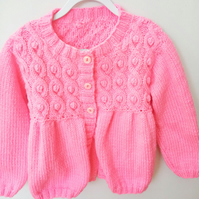 Girl's Hand Knitted Aran Weight Cable and Bobble Cardigan, Birthday Gift