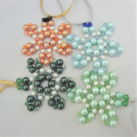 Pearl and Crystal Beaded Snowflake Christmas Tree Decorations, Tree Ornaments