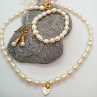 Cream Freshwater Pearl Bridal Jewellery Set with a Mother of Pearl Heart