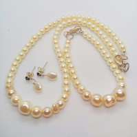 Bridal Jewellery Set Made With Cream Pearls, Wedding Jewellery