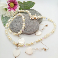 Cream Pearl Bridal Jewellery Set With A Mother of Pearl Heart, Bridesmaids Gift