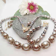 Silver Grey Pearl and Silver Bead Cap 3 Piece Bridal Jewellery Set