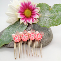 Pink Floral Disc Bead and Pink Pearls Hair Comb, Gift for Her, Hair Accessories