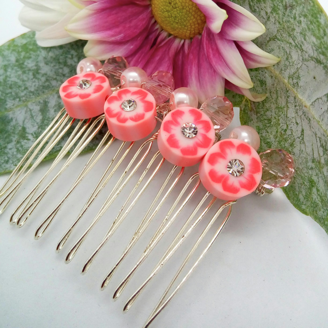 Pink Floral Disc Bridal Hair Comb with Pink Pearls