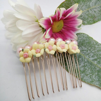 White Flower Bridal Hair Comb with Pale Pink Pearls