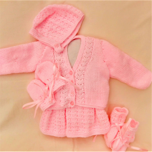 5 Piece Hand Knitted Dress Set for a Baby Girl, New Baby Gift, Baby Shower Gift