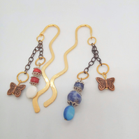 Gold Squiggle Bookmark with Bronze Butterfly Charm and A Choice of Beaded Charm
