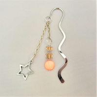 Silver Beaded Bookmark with Orange and Amber Beads and A Star Charm
