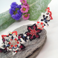 Beaded Floral Tiara With Red Black & White Beads, Prom Accessory
