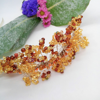 Gold and Topaz Beaded Floral Sprig Tiara, Wedding Jewellery, Bridal Jewellery