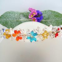 Crystal and Pearl Beaded Floral Tiara, Prom Night Head Band, Floral Hair Band