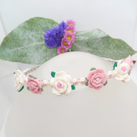 Pink and White Rose Head Band with Pink Pearl Beads, Floral Headband