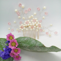 Cream Pearl & Pink Crystal Floral Daisy Bridal Hair Comb, Bridesmaid's Accessory