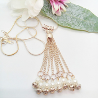Wedding Silver Tassel With Pearls and Spacer Beads On Silver Plated Snake Chain