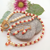 Champagne Pearl and Red Crystal Rondelle Bridesmaids Necklace and Earrings