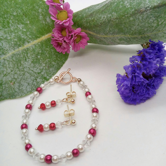 Burgundy & White Pearl and Clear Crystal Bicone Bridal Bracelet and Earrings Set