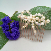 Cream Pearl and Crystal Bow Hair Comb, Beaded Hair Accessory, Prom Accessory
