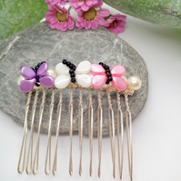 Pink Lilac & Cream Butterfly Hair Comb, Prom Hair Comb, Butterfly Hair Comb
