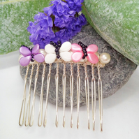 Pink Lilac & Cream Butterfly Hair Comb, Bridal Jewellery, Bridesmaid's Hair Comb