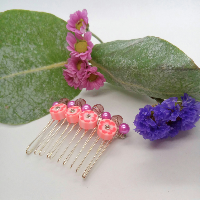 Pink and Purple Floral Disc Bridal Hair Comb with Purple Pearls