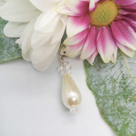 Bridal Pearl Teardrop Necklace on a Silver Plated Chain, Wedding Jewellery