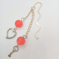 Silver Plated Bookmark with Red Glass Beads and a Heart and a Key Charm