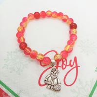 Christmas Bracelet with Red Beads & Silver Santa Charm, Christmas Jewellery