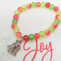 Christmas Bracelet with a Christmas Bells Charm & Red Green and Yellow Beads