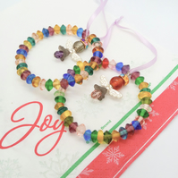 Multi Coloured Jingle Bell & Bead Christmas Tree Decoration With Christmas Angel