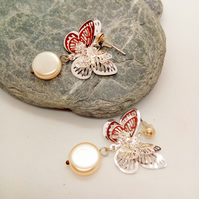 Silver & Crystal Butterfly with Pearl Disc Bridal Stud Earrings For Pierced Ears