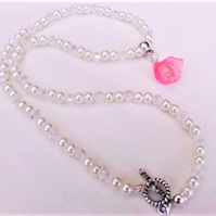 Pink Lily Flower Beaded Pendant with a Pearl and Crystal Beaded Necklace