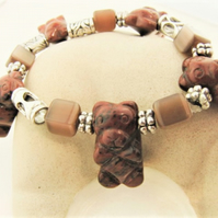 Stretch Bracelet With Mahogany Obsidian Teddy Bears & Silver Plated Spacer Beads