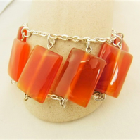 Red Aventurine Rectangular Bead and Chain Bracelet, Semi Precious Bracelet