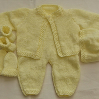 5 Piece Hand Knitted Baby Layette, Baby Shower Gift, Gift for a New Baby