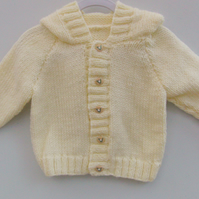 Hand Knitted Baby's Hooded Jacket, Knitted Baby Clothes, Baby's Hoodie