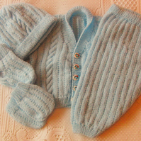 Hand Knitted Baby's Pram Set, Baby's Layette, Baby Outfit, Baby Shower Gift