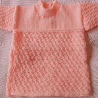 Hand Knitted Long Sleeved Shell Pattern Baby Dress, Lacy Girls Dress