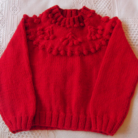 Hand Knitted Girls Winter Jumper with Cherry Patterned Yoke, Childrens Clothes
