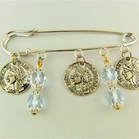 Ladies Kilt Pin Brooch with Pale Blue Crystals and Silver Plated Coin Charms