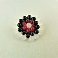 Hand Sewn Black, White and Red Beaded Ladies Small Mandalla Brooch