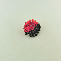 Hand Sewn Black and Red Beaded Ladies Small Brooch