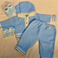 Hooded Pram Set for a Baby Boy or Girl, Hand Knitted Baby's Layette