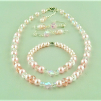 Pink and Clear Crystal and Pearl 3 Piece Bridal Jewellery Set
