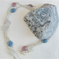 Opaline Bead and Silver Chain Longline Necklace, Ladies Necklace